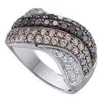 14kt White Gold Womens Round Black Color Enhanced Diamond Striped Crossover Band Ring 1-3/4 Cttw