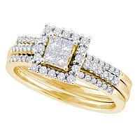 14kt Yellow Gold Womens Princess Diamond 3-Piece Halo Bridal Wedding Engagement Ring Band Set 1/2 Cttw