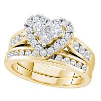 14k Yellow Gold Womens Round Princess Diamond Heart Wedding Bridal Ring Set 1.00 Cttw