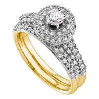 14kt Yellow Gold Womens Round Diamond Halo Bridal Wedding Engagement Ring Band Set 1/3 Cttw