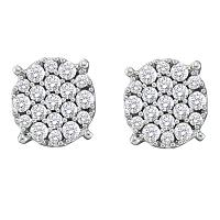 14kt White Gold Womens Round Pave-set Diamond Flower Cluster Earrings 1/2 Cttw