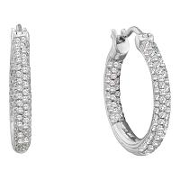 14kt White Gold Womens Round Pave-set Diamond Inside Outside Hoop Earrings 1/2 Cttw