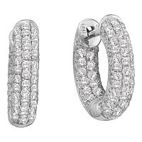 14kt White Gold Womens Round Pave-set Diamond Dainty Huggie Hoop Earrings 3/4 Cttw