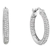 14kt White Gold Womens Round Pave-set Diamond Inside Outside Hoop Earrings 1.00 Cttw
