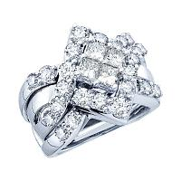 14kt White Gold Womens Princess Diamond Bridal Wedding Engagement Ring Band Set 2-1/2 Cttw