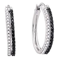 14kt White Gold Womens Round Black Color Enhanced Diamond Double Row Striped Hoop Earrings 1/2 Cttw