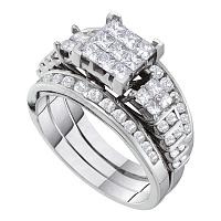 14kt White Gold Womens Princess Diamond 3-Piece Bridal Wedding Engagement Ring Band Set 1-1/2 Cttw