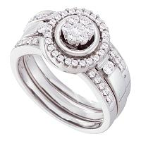 14kt White Gold Womens Diamond Cluster 3-Piece Bridal Wedding Engagement Ring Band Set 1/2 Cttw