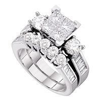 10kt White Gold Womens Princess Diamond Bridal Wedding Engagement Ring Band Set 3.00 Cttw
