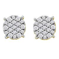 14kt Yellow Gold Womens Round Pave-set Diamond Flower Cluster Earrings 1/2 Cttw