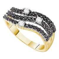 14kt Yellow Gold Womens Round Black Color Enhanced Diamond Triple Row Band Ring 1/2 Cttw