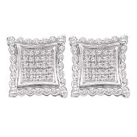 10kt White Gold Womens Round Diamond Square Kite Cluster Earrings 1/2 Cttw
