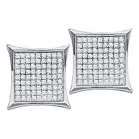 14kt White Gold Womens Round Diamond Square Kite Cluster Stud Earrings 1/10 Cttw