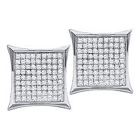 14kt White Gold Womens Round Diamond Square Kite Cluster Earrings 1/6 Cttw