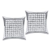 10kt White Gold Womens Round Diamond Square Kite Cluster Earrings 1/3 Cttw