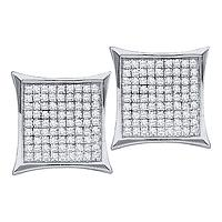 14kt White Gold Womens Round Diamond Square Kite Cluster Earrings 1/3 Cttw