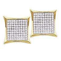 10kt Yellow Gold Womens Round Diamond Square Cluster Screwback Earrings 3/8 Cttw