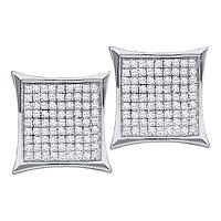 10kt White Gold Womens Round Diamond Square Cluster Earrings 3/8 Cttw