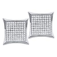 14kt White Gold Womens Round Diamond Square Cluster Earrings 3/8 Cttw