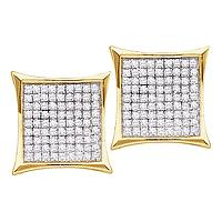 14kt Yellow Gold Womens Round Diamond Square Cluster Earrings 3/8 Cttw