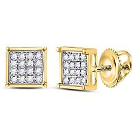 10kt Yellow Gold Womens Round Diamond Square Cluster Earrings 1/10 Cttw