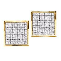 10kt Yellow Gold Womens Round Pave-set Diamond Square Cluster Earrings 3/8 Cttw