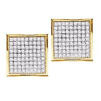 10kt Yellow Gold Womens Round Pave-set Diamond Square Cluster Earrings 7/8 Cttw