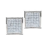 10kt White Gold Womens Round Pave-set Diamond Square Cluster Earrings 7/8 Cttw