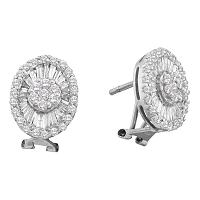 14kt White Gold Womens Round Diamond Oval French-clip Cluster Earrings 1-5/8 Cttw