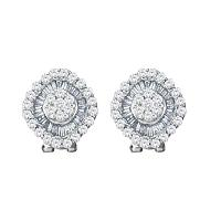 14kt White Gold Womens Round Diamond Square Cluster French-clip Earrings 1-1/2 Cttw