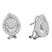 14kt White Gold Womens Round Diamond Oval Cluster Earrings 1-1/4 Cttw