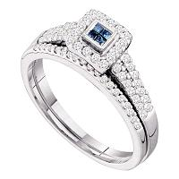 14kt White Gold Womens Princess Blue Color Enhanced Diamond Halo Bridal Wedding Engagement Ring Band Set 1/2 Cttw