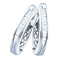 10kt White Gold Womens Baguette Channel-set Diamond Hoop Earrings 1/3 Cttw