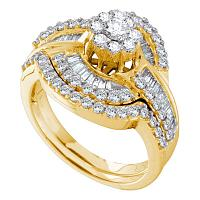 14kt Yellow Gold Womens Round Diamond Bridal Wedding Engagement Ring Band Set 1-1/5 Cttw