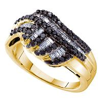 14kt Yellow Gold Womens Round Black Color Enhanced Diamond Striped Band Ring 3/4 Cttw