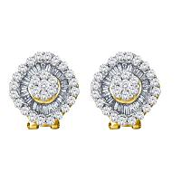 14kt Yellow Gold Womens Round Diamond Square Cluster French-clip Earrings 1-1/2 Cttw