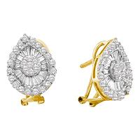 14kt Yellow Gold Womens Round Diamond Oval Cluster Earrings 1-1/4 Cttw