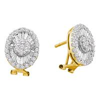 14kt Yellow Gold Womens Round Diamond French-clip Oval Earrings 1-5/8 Cttw