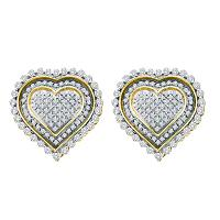 10kt Yellow Gold Womens Round Diamond Framed Heart Screwback Cluster Earrings 1.00 Cttw