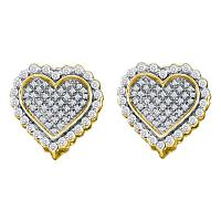 10kt Yellow Gold Womens Round Diamond Heart Frame Cluster Earrings 1/2 Cttw
