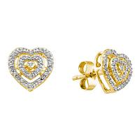 10kt Yellow Gold Womens Round Diamond Heart Love Cluster Earrings 1/12 Cttw