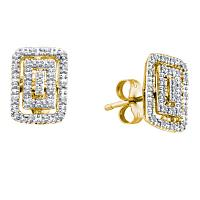 10kt Yellow Gold Womens Round Diamond Rectangle Cluster Earrings 1/10 Cttw