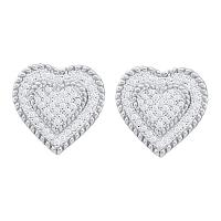 10kt White Gold Womens Round Diamond Heart Cluster Screwback Earrings 1/3 Cttw