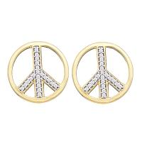 10kt Yellow Gold Womens Round Diamond Peace Sign Circle Stud Screwback Earrings 1/6 Cttw