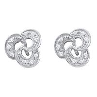 10kt White Gold Womens Round Diamond Trinity Stud Earrings 1/20 Cttw