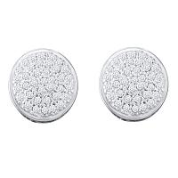 10kt White Gold Womens Round Diamond Circle Cluster Stud Earrings 1/5 Cttw