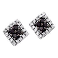 10kt White Gold Womens Round Black Color Enhanced Diamond Square Cluster Screwback Earrings 1/3 Cttw