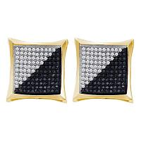 10kt Yellow Gold Womens Round Black Color Enhanced Diamond Square Kite Cluster Earrings 7/8 Cttw