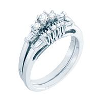 10kt White Gold Womens Round Diamond 3-stone Bridal Wedding Engagement Ring Band Set 3/8 Cttw