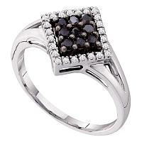 10kt White Gold Womens Round Black Color Enhanced Diamond Diagonal Square Cluster Ring 1/5 Cttw